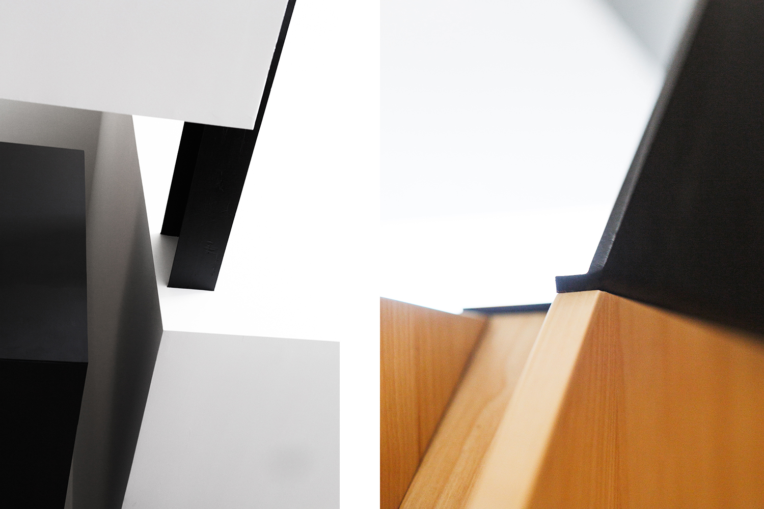Two architectural details. Visible black steel beam insert into gypsum block. Junction of wood and metal on the stairs
