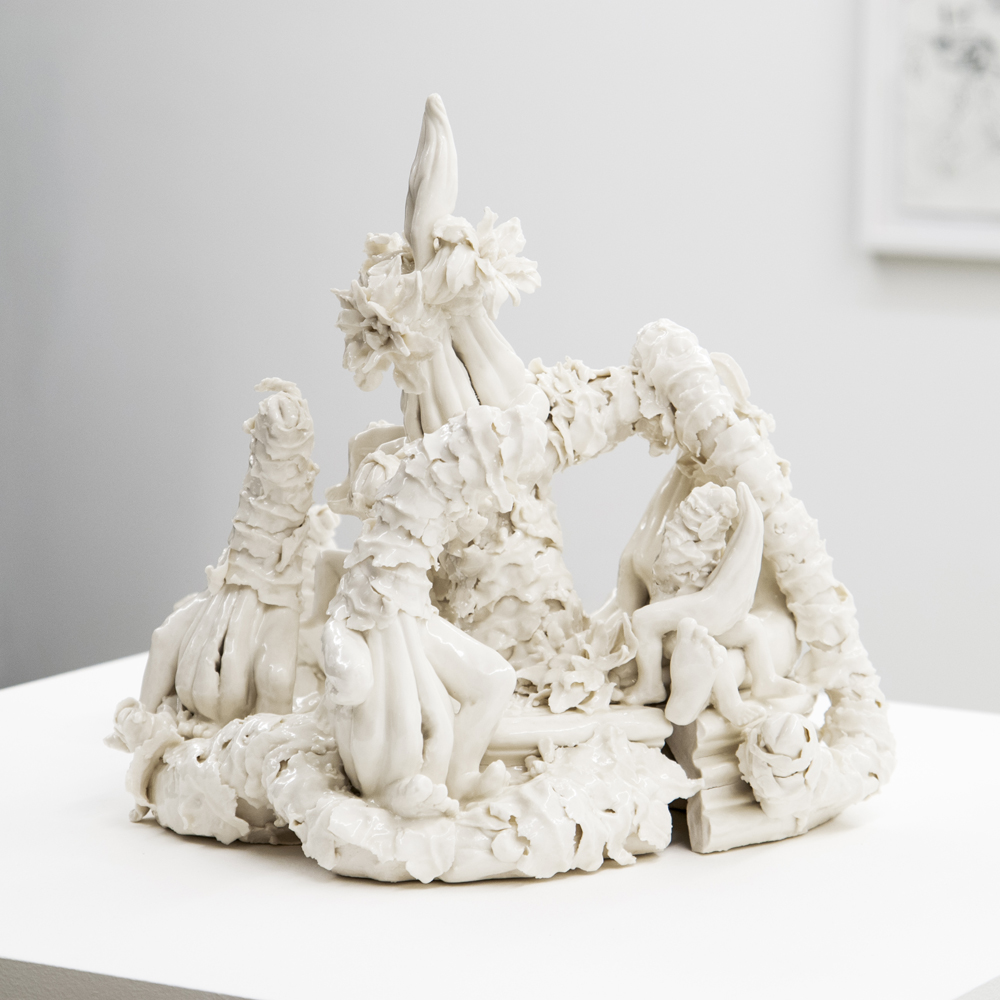 Rachel Kneebone, And all the while we waited for the fire to fall from heaven ,2006,Porcelain,34 x Ø 46 cm,Courtesy of a private collection, London