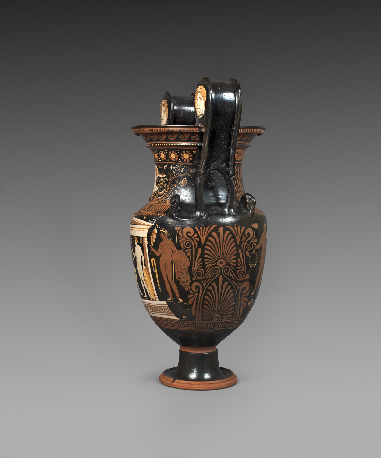 Apulian red-figure volute krater ,Attributed to the painter of Copenhagen 4223, circa 330-320 BC,Terracotta,Height 73.5 cm,Courtesy of Rupert Wace Ancient Art Ltd, London