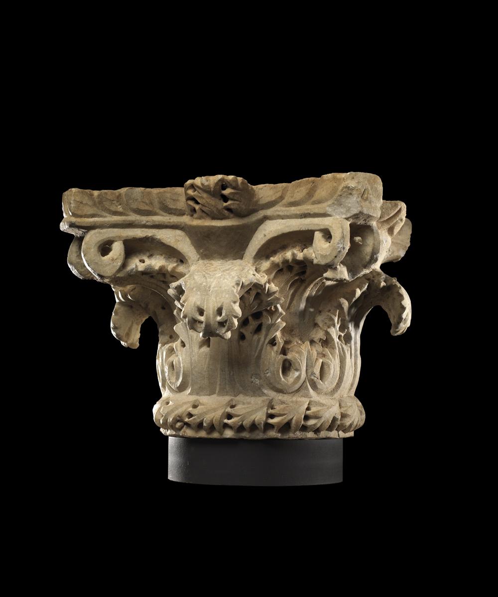 Byzantine marble column capital ,Circa 5th – 6th century AD,45.7 x 45.7 x 27.9 cm,Courtesy of Rupert Wace Ancient Art Ltd, London