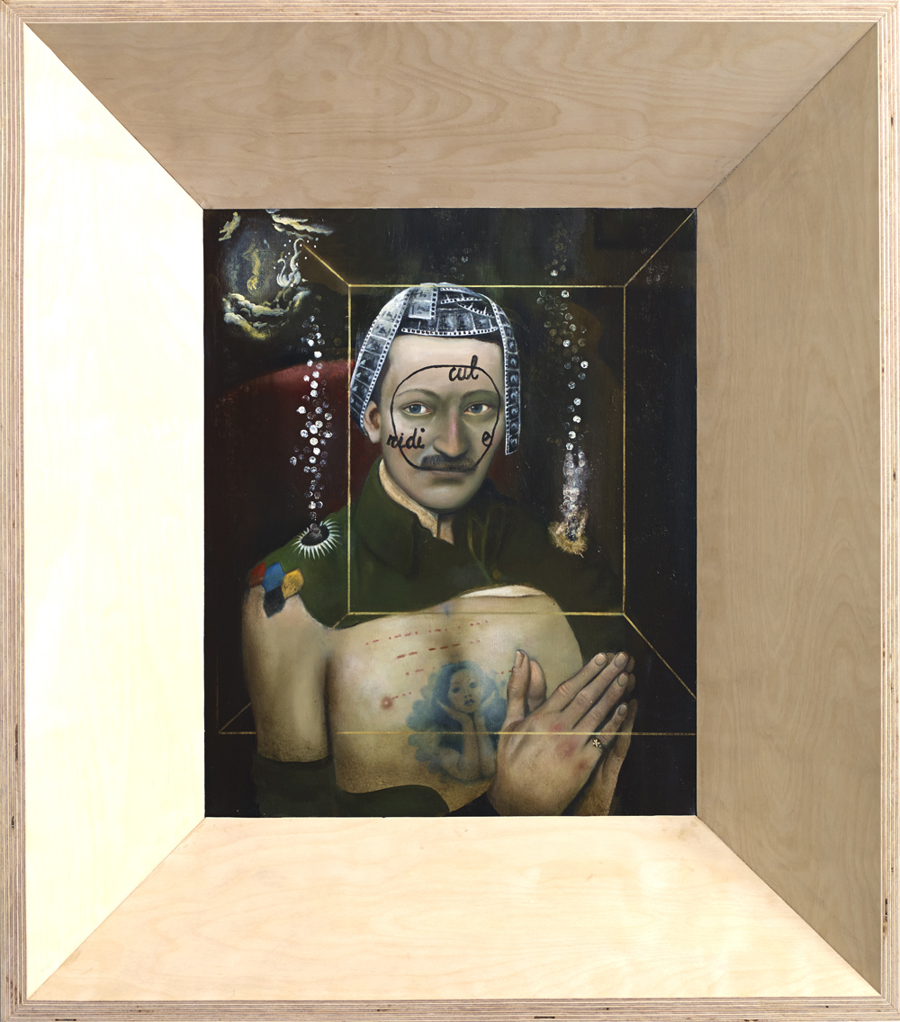 Ged Quinn, The Book of Two Ways ,2013,Oil on linen,61.5 x 50 cm,Courtesy of the artist and Stephen Friedman Gallery, London,Photography Stephen White