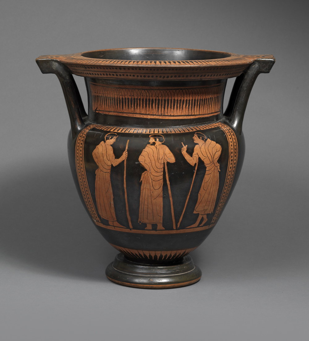 Attic red-figure column krater ,Attributed to the Nausicaa Painter, circa 450 BC,Terracotta,Height 37.5 cm,Courtesy of Rupert Wace Ancient Art Ltd, London
