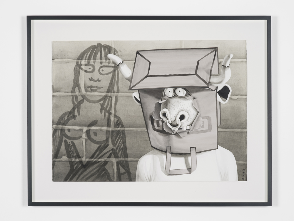 Mary Reid Kelley, Minotaur with Ariadne ,2013,Collaged paper with charcoal, watercolour, and gouache,56 x 77.5 cm unframed,Courtesy of the artist and Pilar Corrias, London