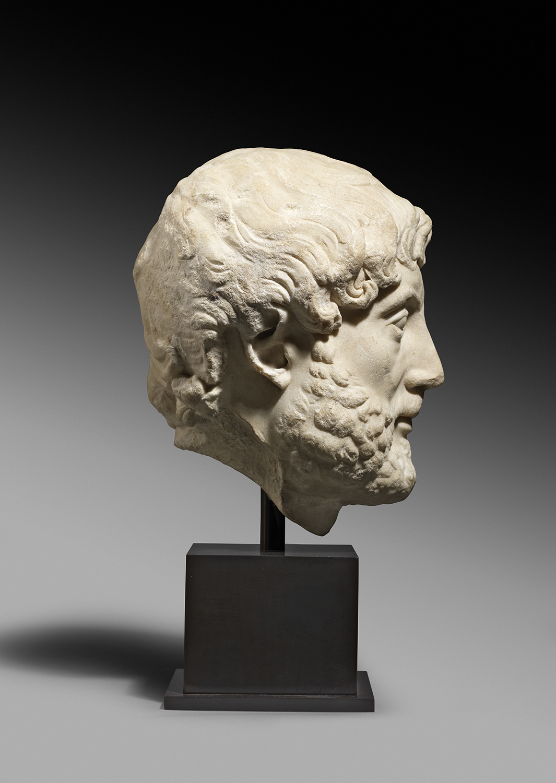 Roman marble portrait head of the Emperor Hadrian ,Circa 2nd century AD,Height 33 cm,Courtesy of Rupert Wace Ancient Art Ltd, London