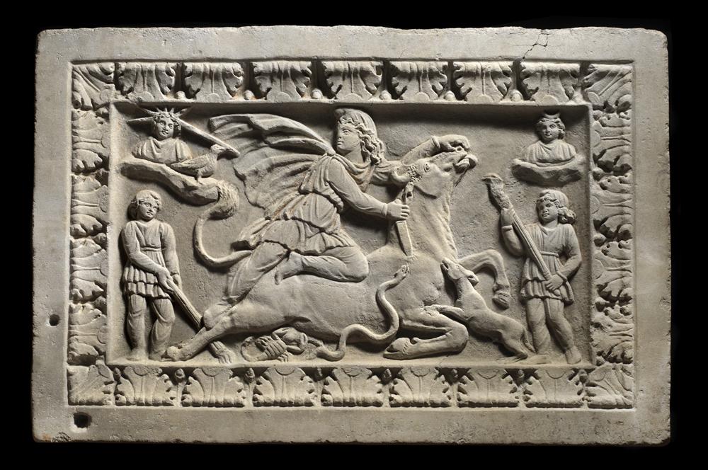 Roman marble relief of Mithras Tauroctonus ,Circa 2nd – 3rd century AD,84.5 x 127.5 cm,Courtesy of Rupert Wace Ancient Art Ltd, London