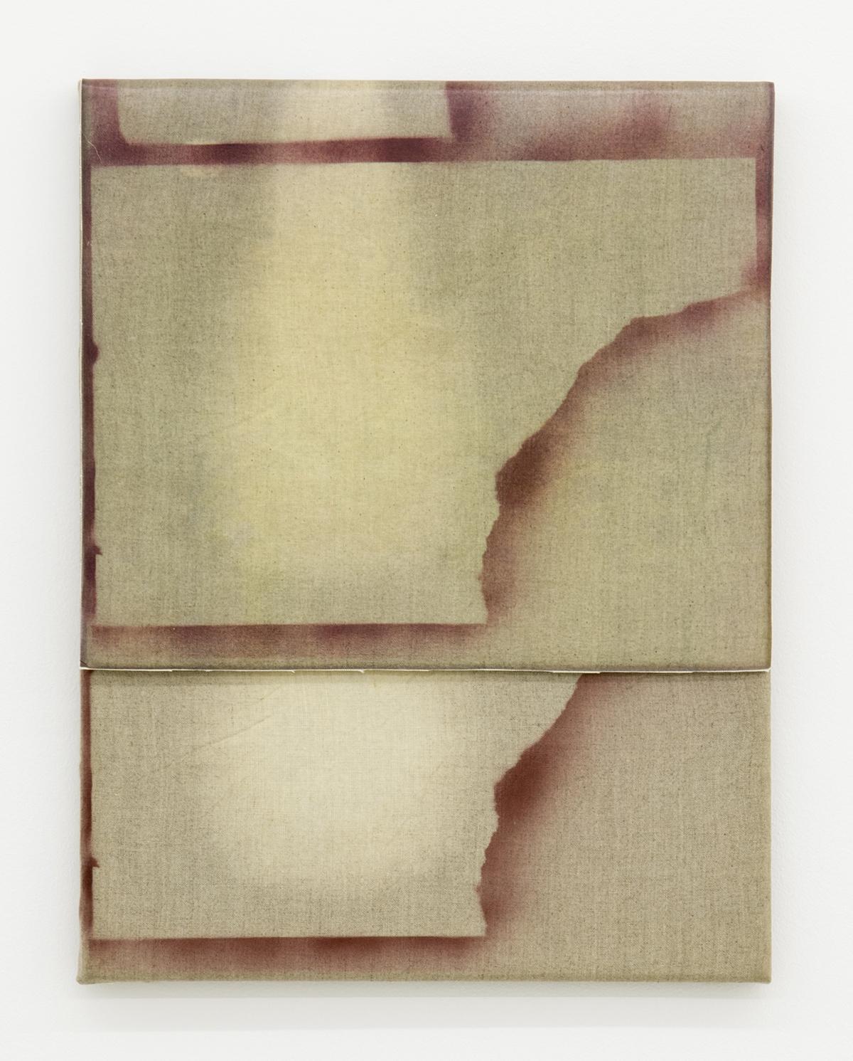 Aimée Parrott, Overlap (part 1) ,2014,Bleach and ink on linen,35 x 25 cm
