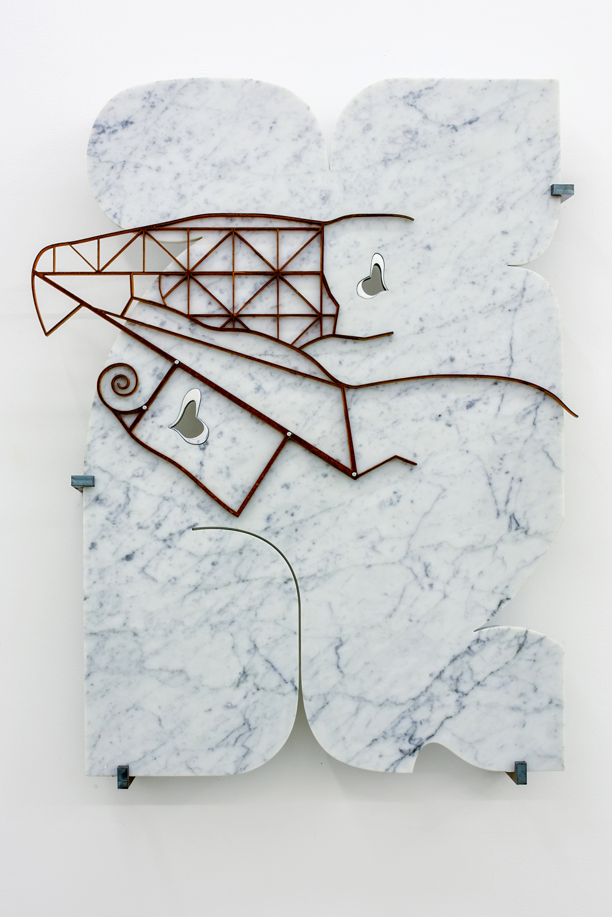 George Henry Longly,  A Trophic Cascade in the making , 2015, Waterjet cut marble, waterjet cut steel, steel brackets, 80 x 55 x 10 cm, courtesy the artist and Koppe Astner, Glasgow