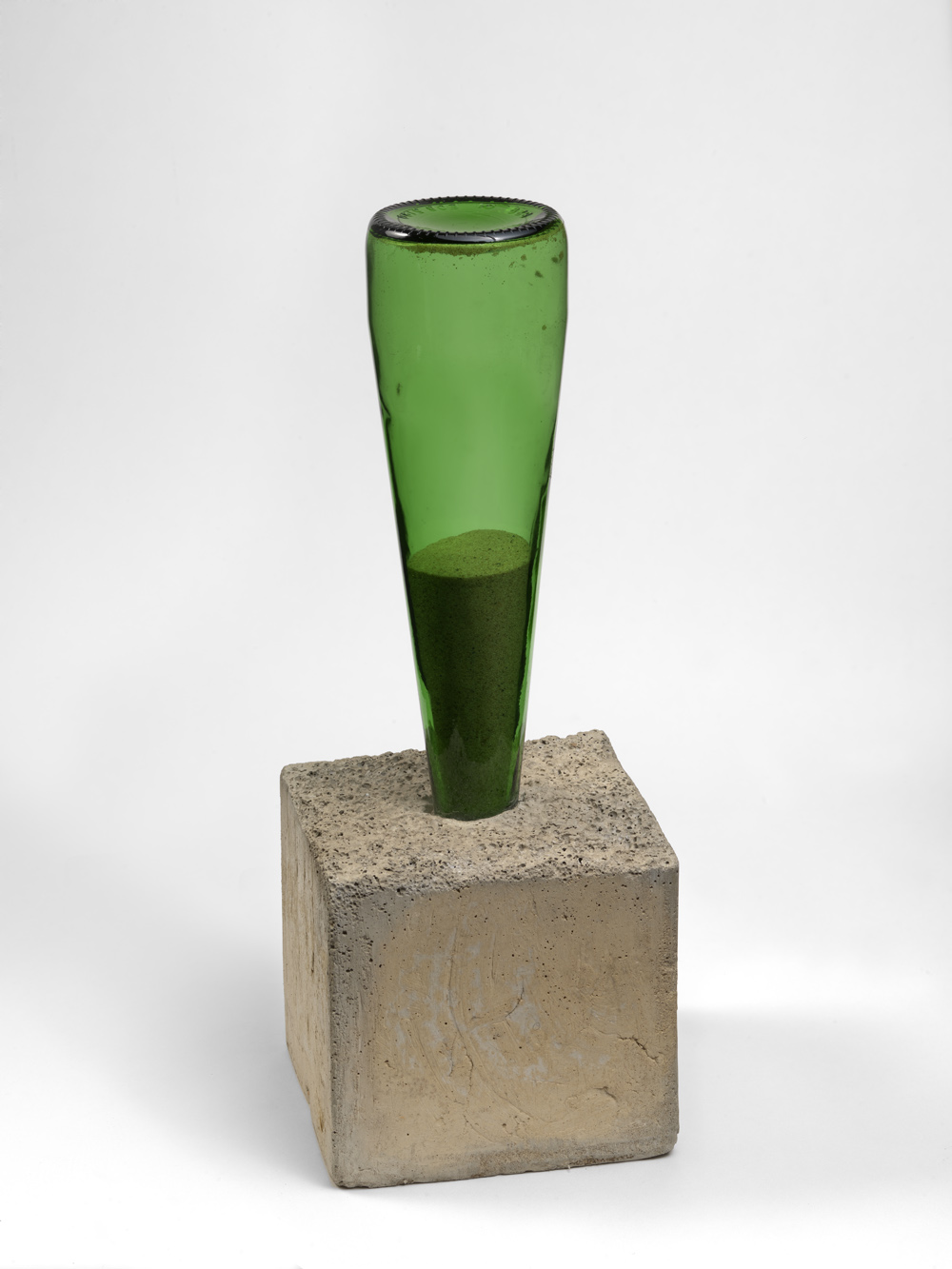 Alexandre da Cunha,  1736070909 , 2009, Concrete, sand and bottle, 37 x 13 cm, Courtesy the artist and Thomas Dane Gallery, London