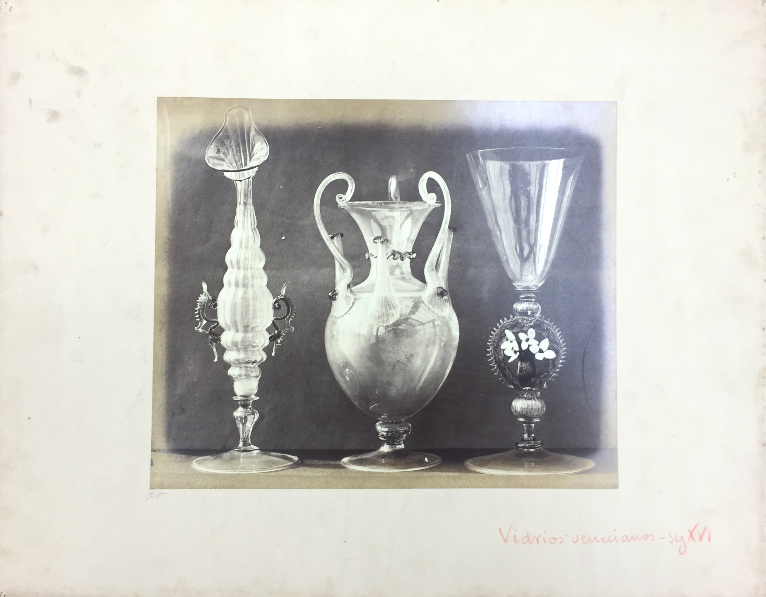 Medieval Venetian Glass, A.D. 1520, No. 938, Antiquities of Britain, British Museum , 1872, Photographed by Stephen Thompson, Vintage albumen print, Photograph: 23 x 27.5 cm, Mount board: 35.5 x 45.5 cm