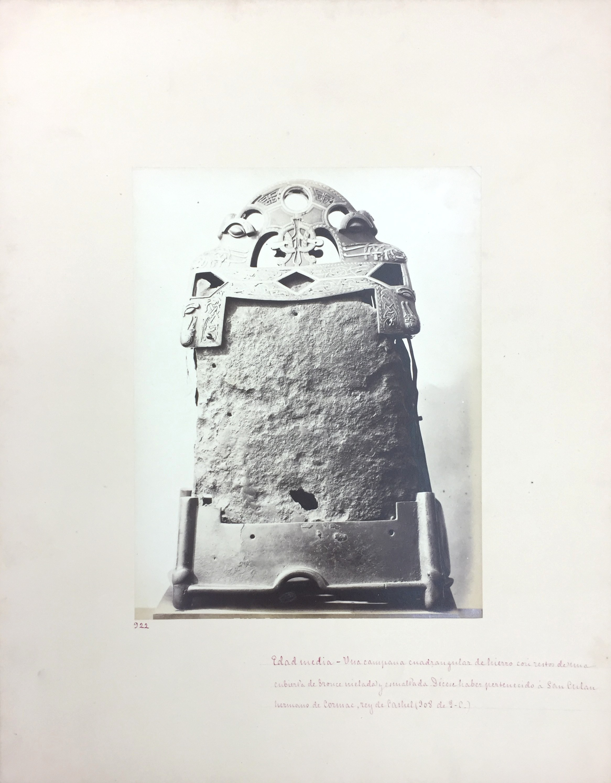 Medieval Iron Bell, 12th C, No. 922, Antiquities of Britain, British Museum , 1872, Photographed by Stephen Thompson, Vintage albumen print, Photograph: 20 x 26 cm, Mount board: 45.5 cm x 35.5 cm