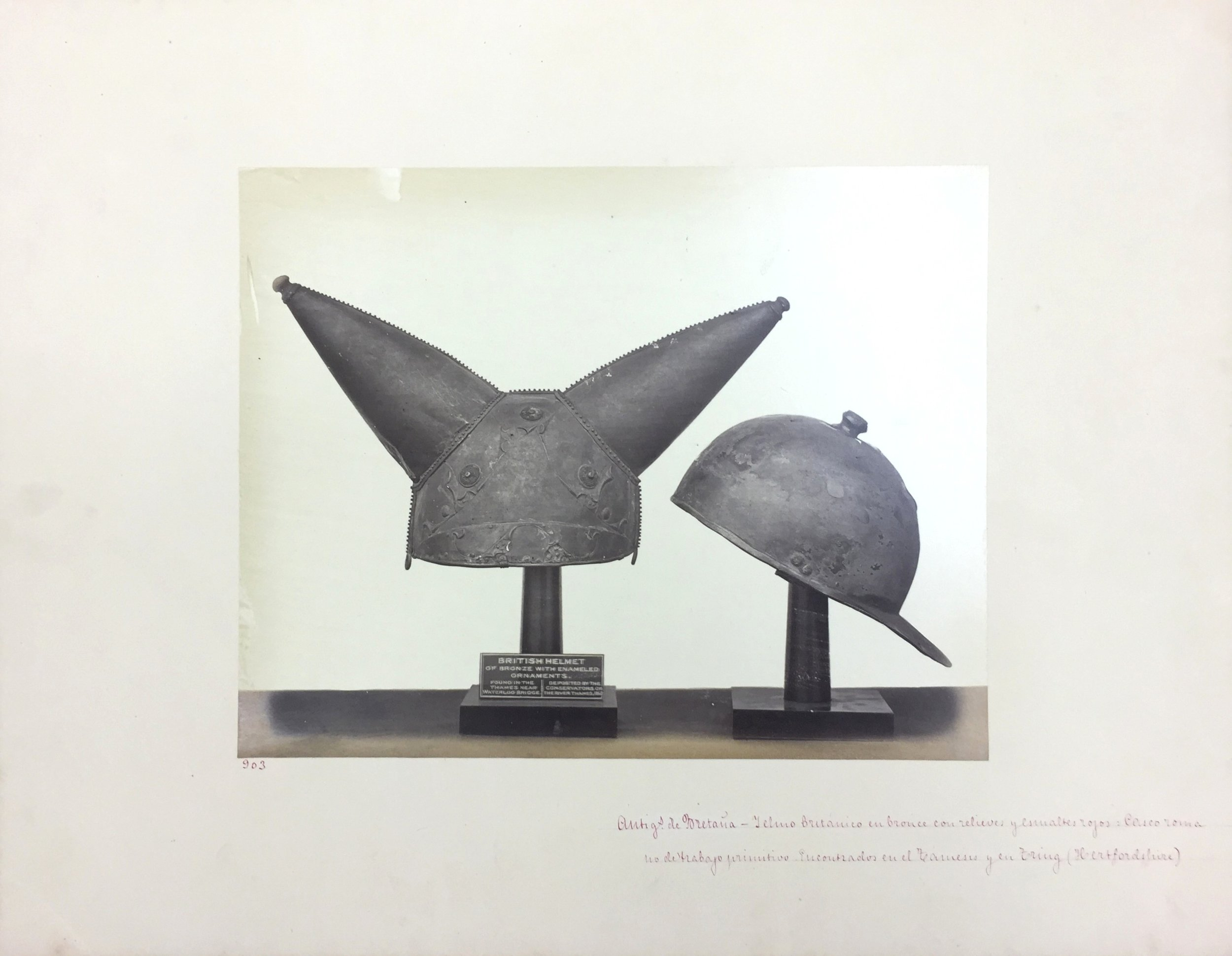 British Helmet of Bronze, No. 903, Antiquities of Britain, British Museum , 1872, Photographed by Stephen Thompson, Vintage albumen print, Photograph: 27.5 x 21.5 cm, Mount board: 35.5 x 45.5 cm