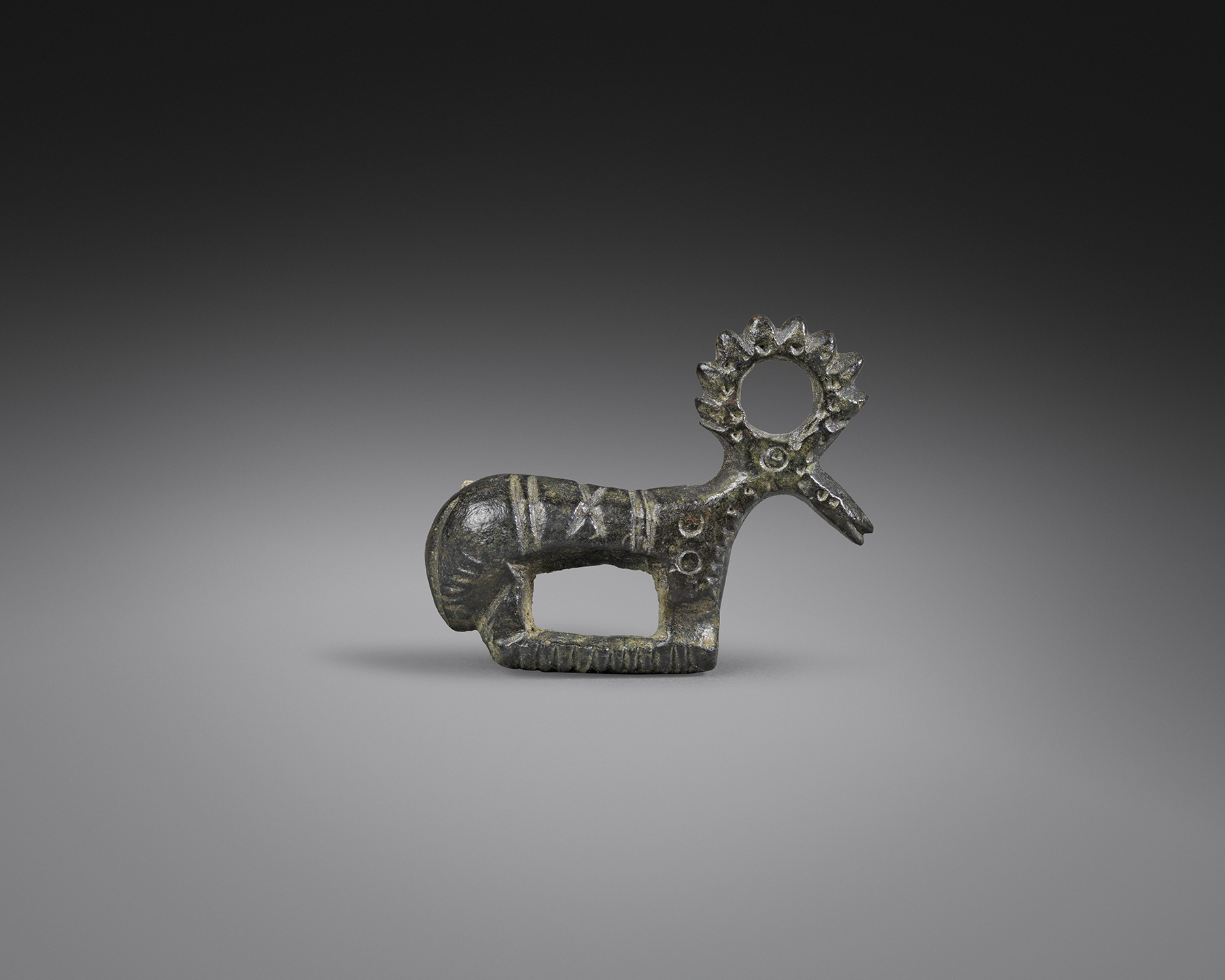Visigothic Fibula in the Form of a Stag , 4th - 6th century C.E., Bronze, Length 3.6 cm, Courtesy Rupert Wace Ancient Art, London