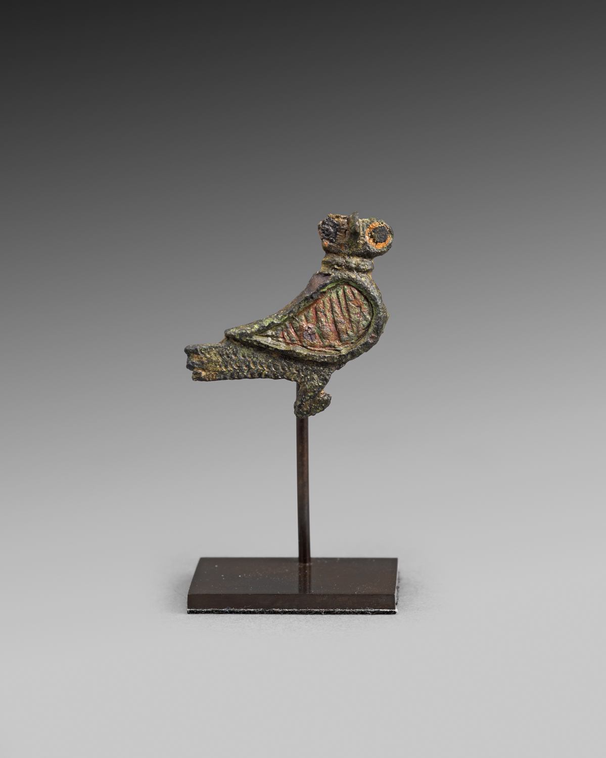 Gallo-Roman Owl Plate Brooch , 2nd - 3rd century C.E., Bronze with enamel inlays, 2.6 x 2.8 cm, Courtesy Rupert Wace Ancient Art, London
