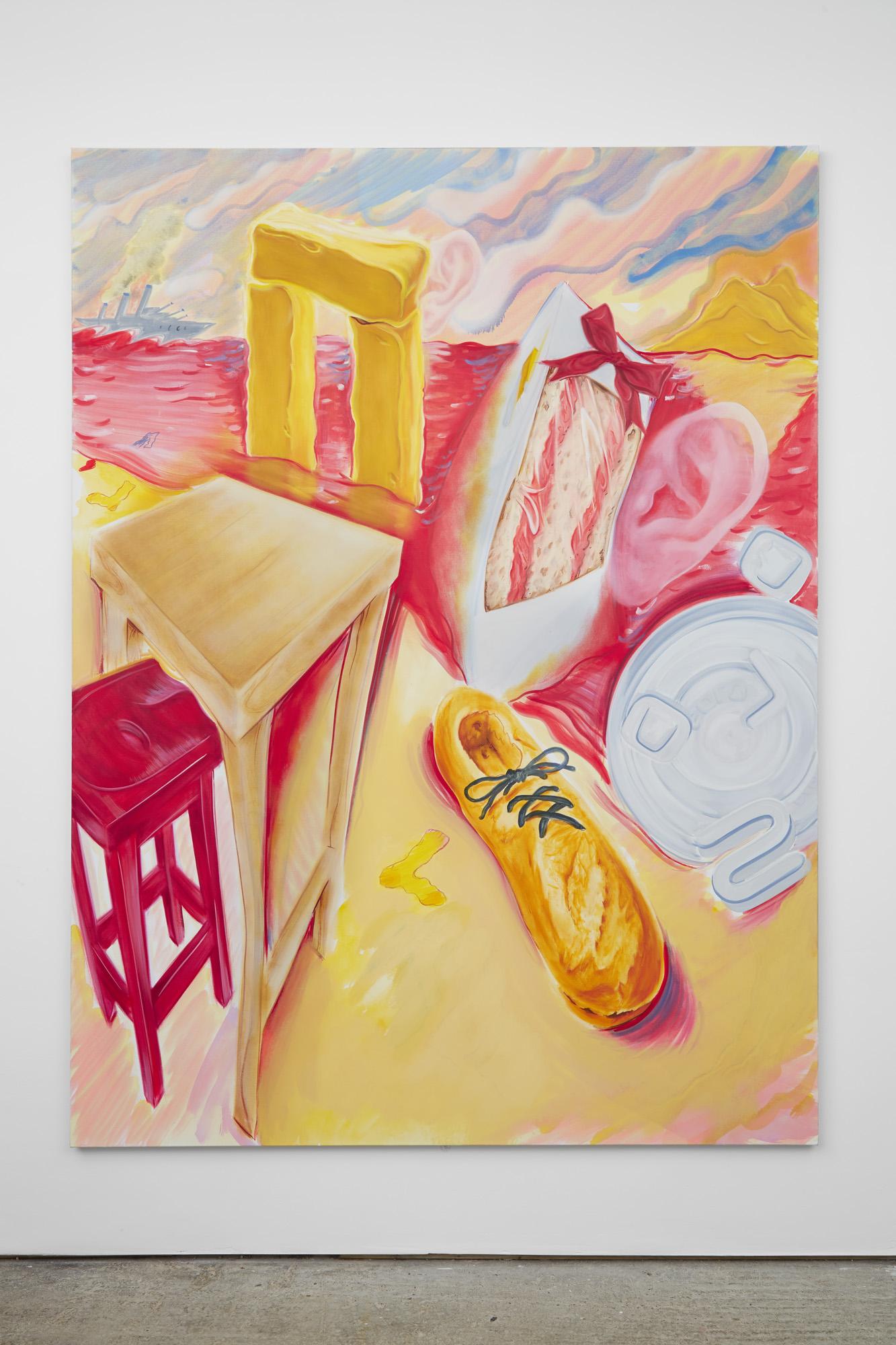 Nicholas Hatfull, Paysan (la logica del wrackaging) ,2016, oil and acrylic on canvas,240 x 180 cm