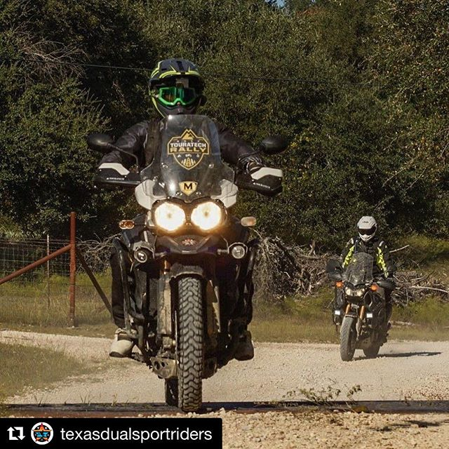 Cool shot by @adv_zach and the @texasdualsportriders crew! We did this see through windscreen decal for the @touratechusa rally west last June 2017 and still rocking it. It was that good of a time! #advmoto #xladv #dualsportadv #klimgear #klimlife #customgraphics
