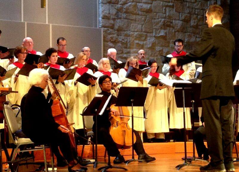 Chancel Choir at Bethel accompanied by cellos