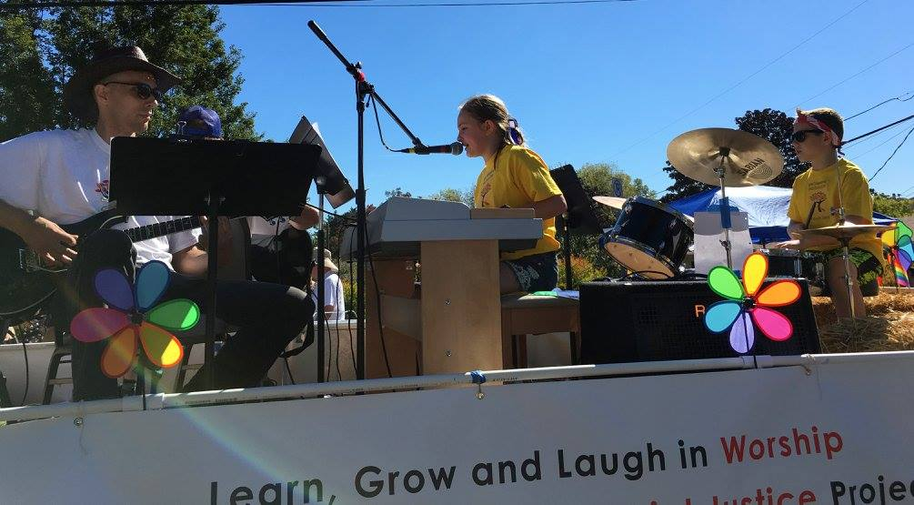 Hot Shots kid's worship band rock out in sunshne