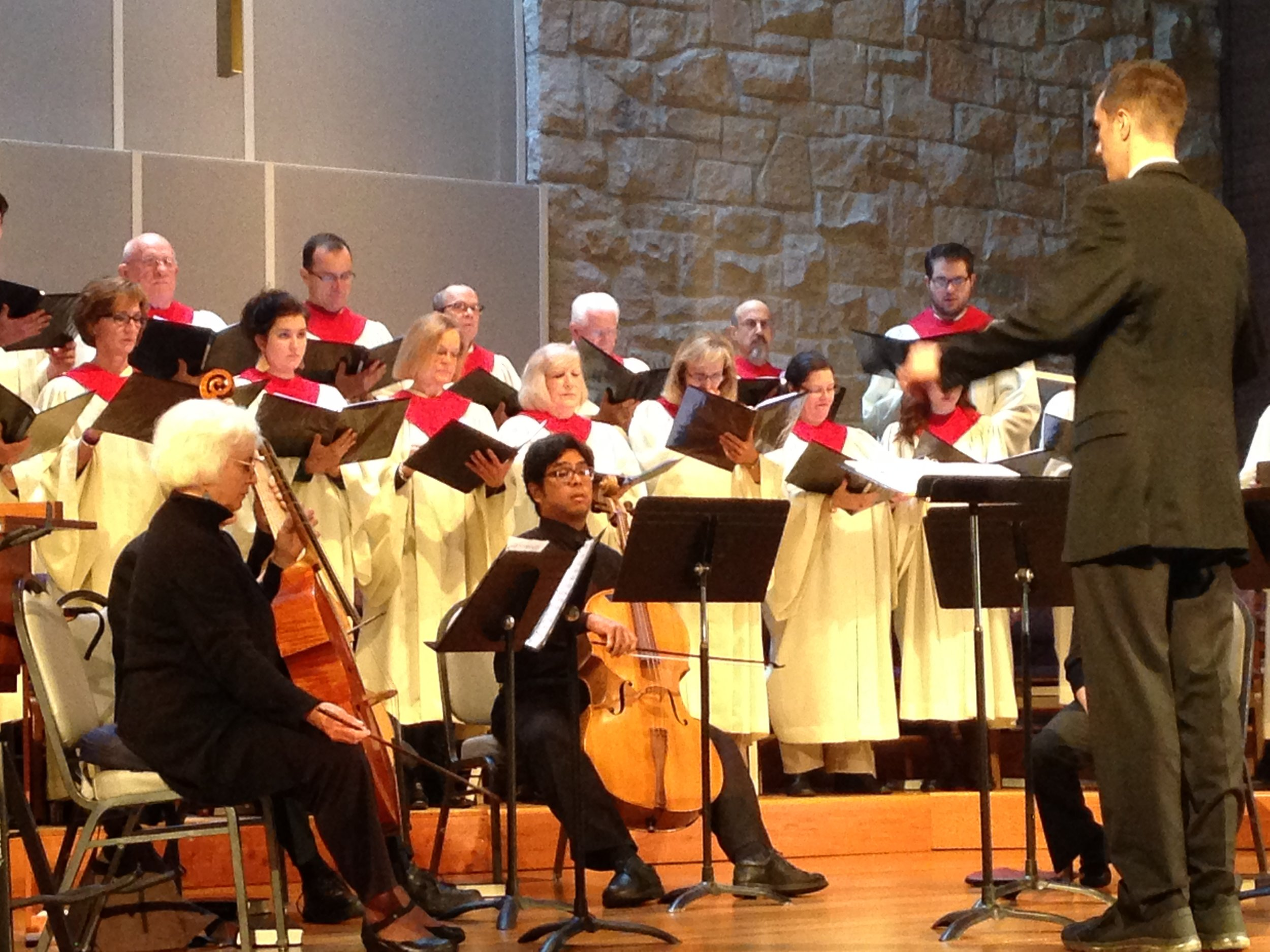 Bethel's Music Director with Chancel Choir and strings at Worship Service
