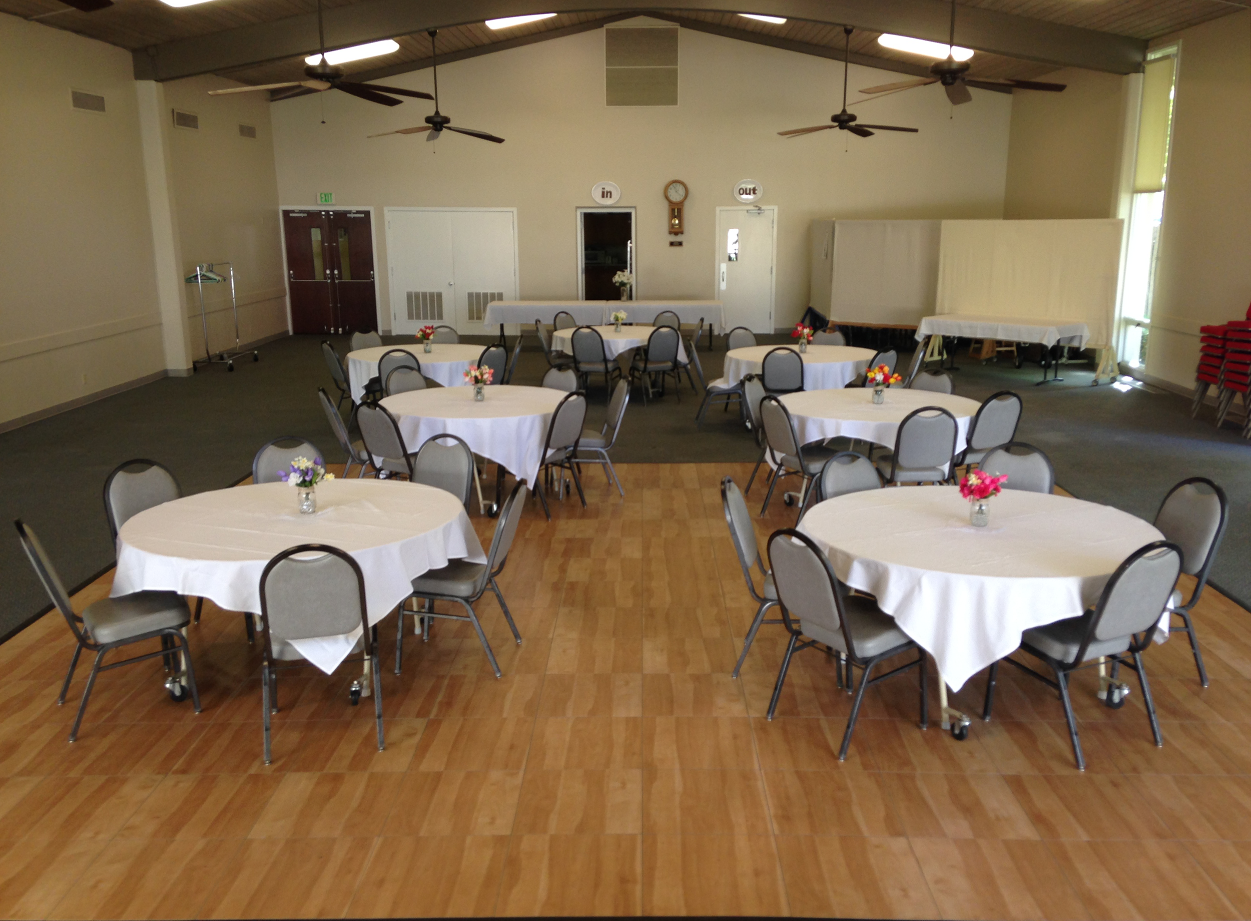 Watson Street Event Hall, Dance Floor, Band Stand, Tables and Chairs,