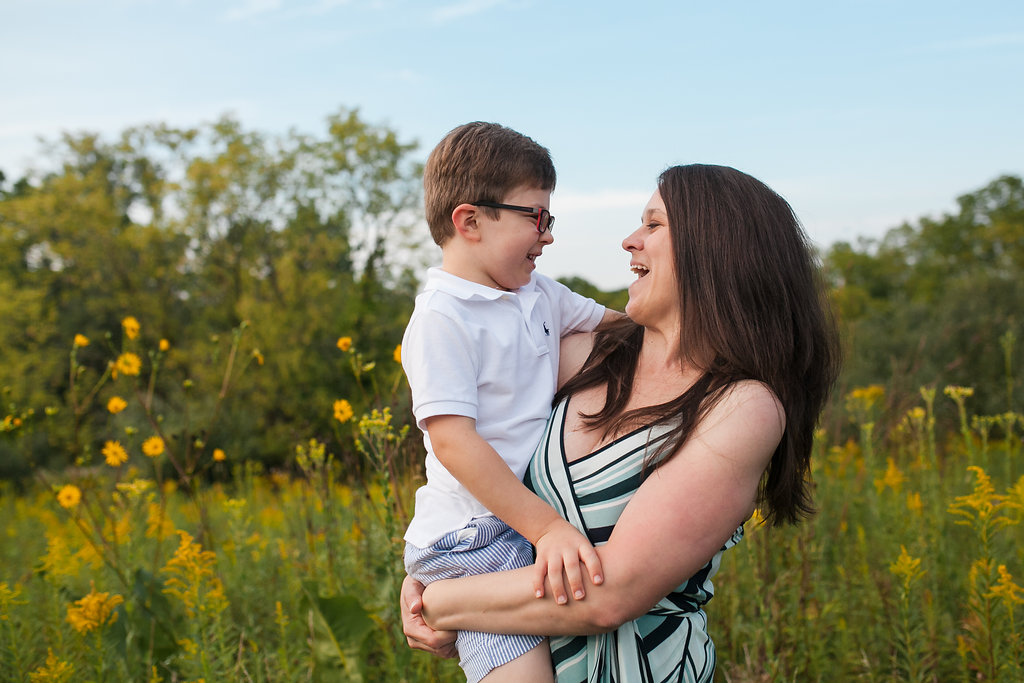 Mom and son in the flowers - Oakland Township MI family photographer