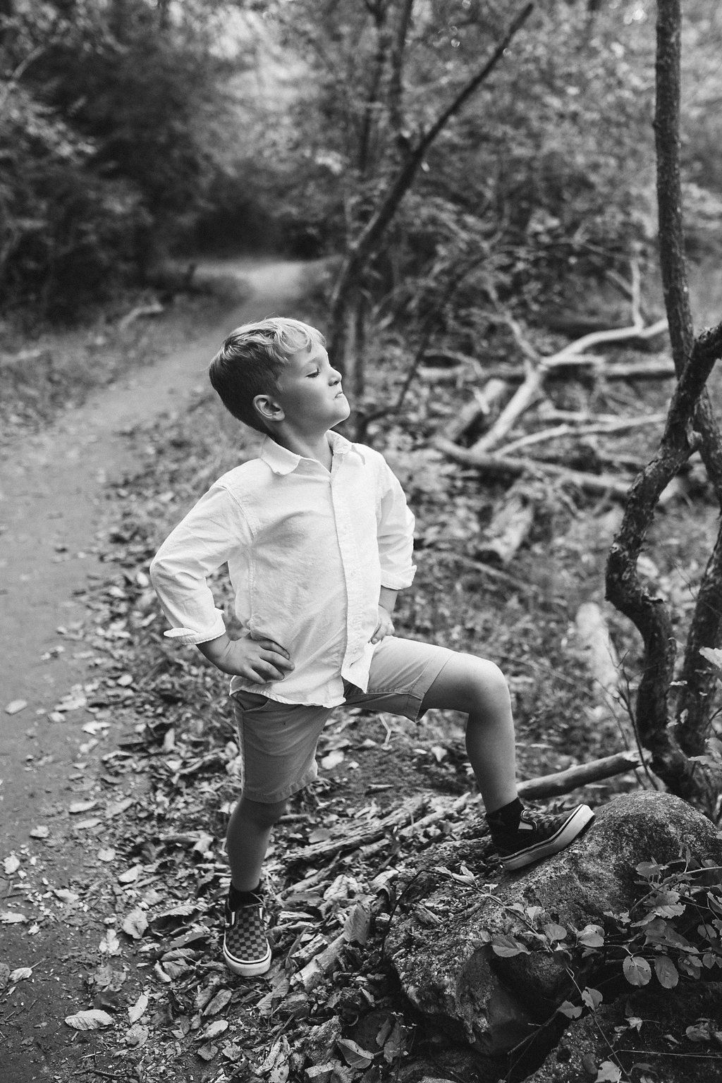 Child photograph in the woods Bloomer Park Michigan