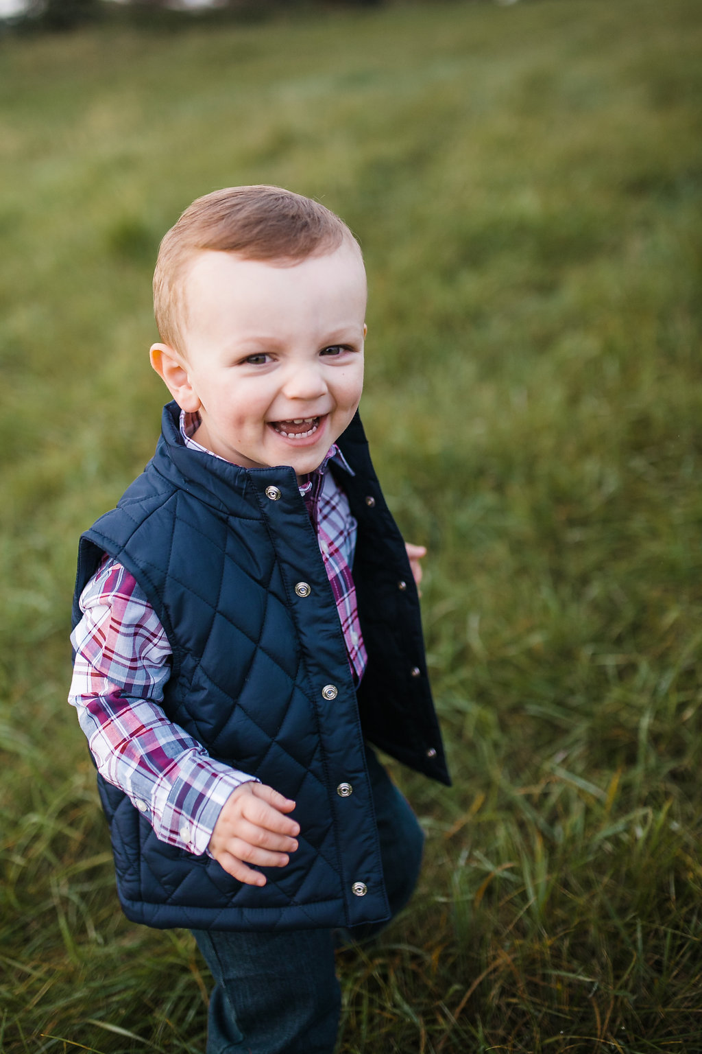 Toddler boy in a field - Metro Detroit Child Photography