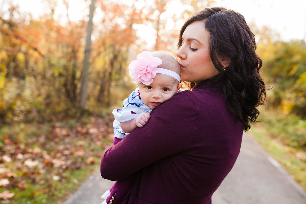 Mom and baby - fall photography Shelby Township Michigan