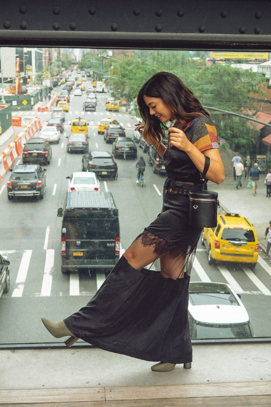 TRVL PORTER:  Self Portrait Maxi Dress   ACCENTED:  Crop Top + Statement Heels + Cross-Body Purse