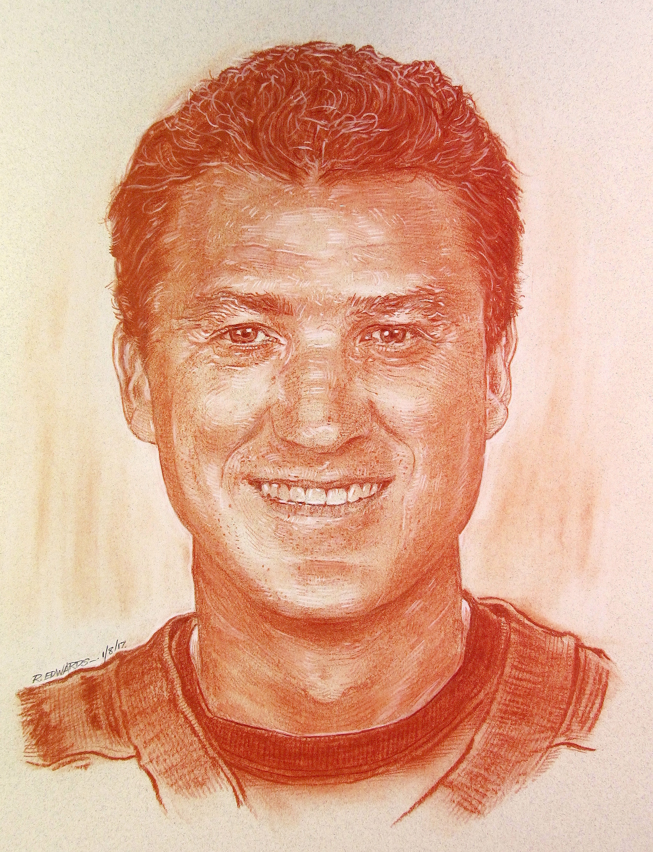 "Mario Lemieux, Team Owner.   Red sanguine chalk with white highlights, 12"" x 16"""