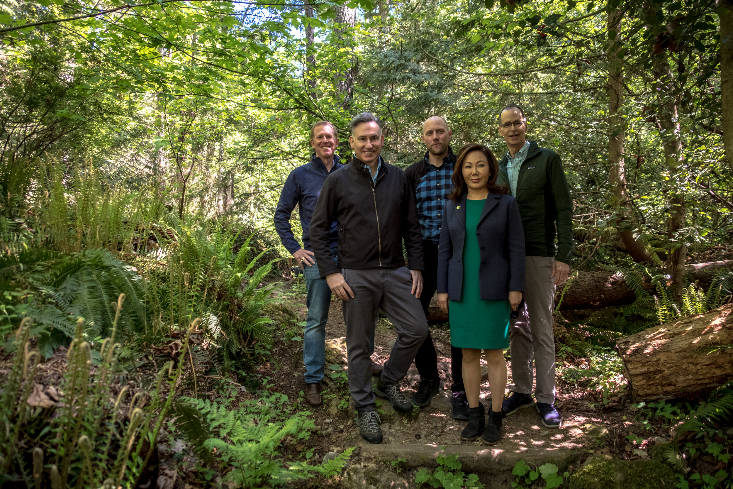 Partners at the launch of the King County Forest Carbon Program in May 2019 at Cougar Mountain Regional Park.  Left to right: Stephen Killeen, CEO at Natural Capital Partners, King County Executive Dow Constantine, Lucas Joppa, Chief Environmental Officer at Microsoft, Helena Park, Founder and CEO at Fishermen's Finest Inc., and Mark McPherson, Executive Director at City Forest Credits.