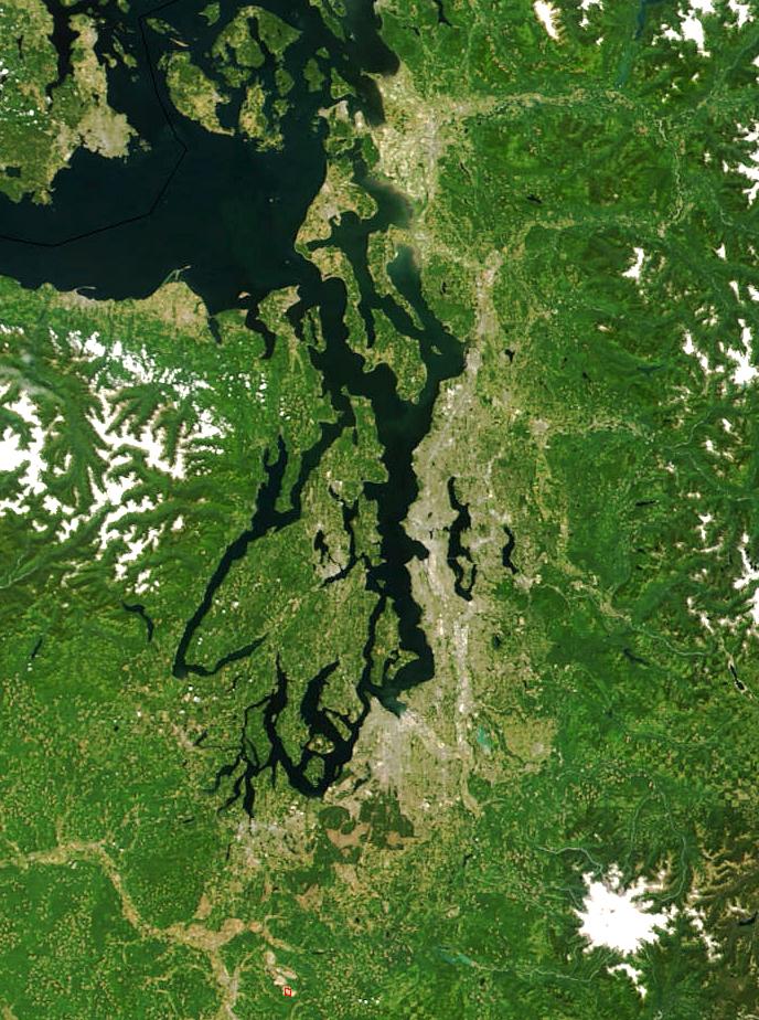 Aerial of Puget Sound Region. Photo credit: NASA.