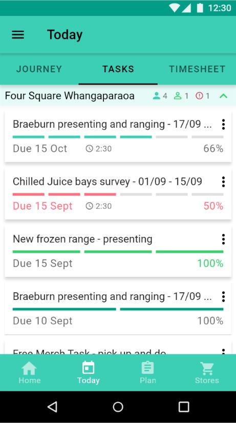 Task tracking over multiple visits