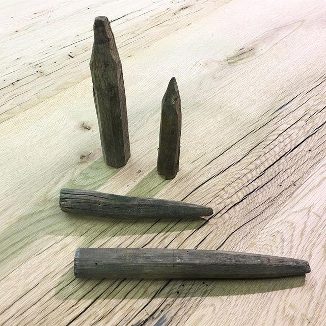 Reclaimed vampire stakes 1600's or beam plugs?? • • • #copeandstick #reclaimed #repurpose #recycle #upcycle #millwork #metal #steel #art #wood #workflow #design #custom #handmade #supportsmallbusiness #fabrication #fab101 #craftsmen #charlotte #nc #ctl #qc #oak #Vintagelumberyard #handmade #reclaimedwood #beams #designinspo #interiorinspiration