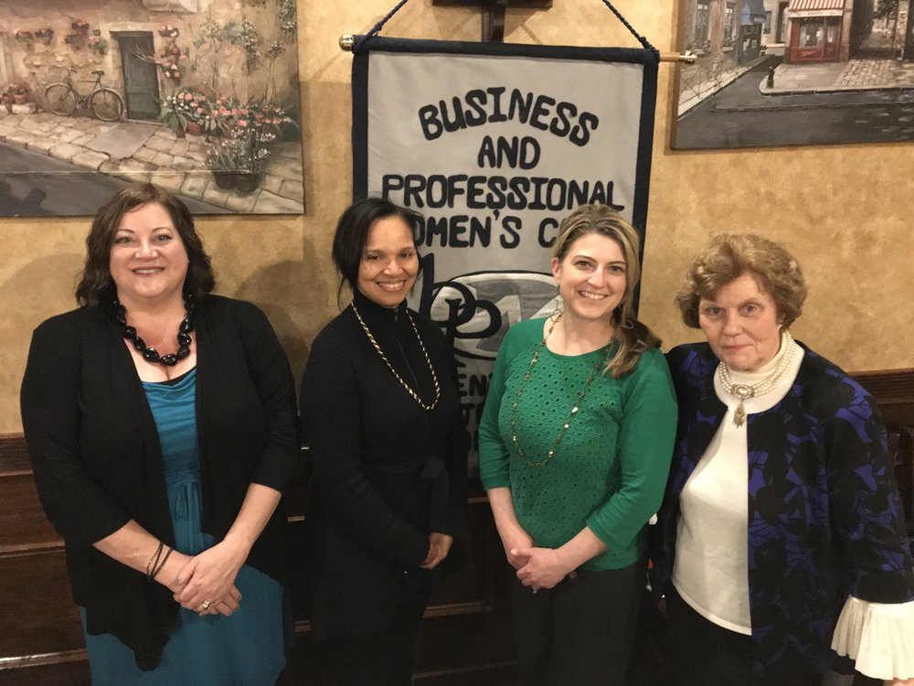 - Central Montgomery County Business and Professional Women welcomed their newest member, Antonietta Pendleton owner of Italian Specialties (right). She joined on the spot as she came with her neighbor and guest speaker, Colleen Falicki, founder of Back To Earth Compost Crew ( in green for Earth Day) . President and Vice President (from left), Becky Shoulberg and Sue Soriano, met Colleen at a Montgomery County Chamber of Commerce Women's Resource event.