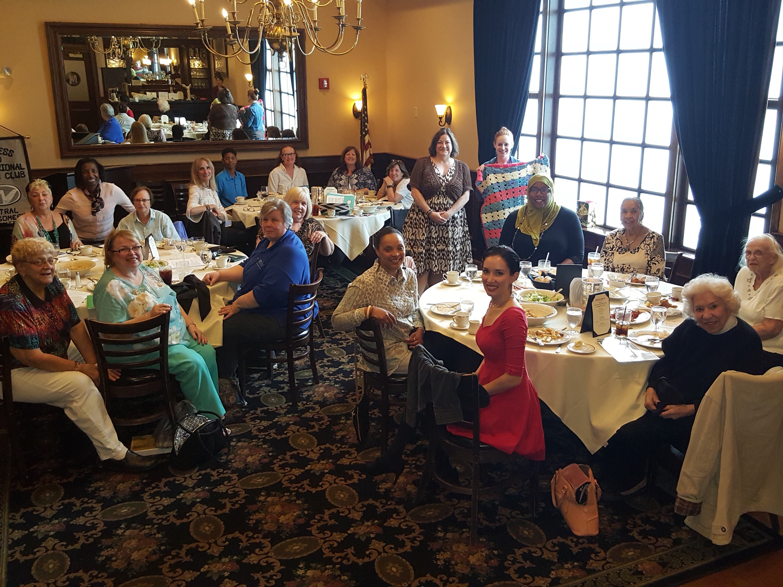 Central Montgomery County Business and Professional Women celebrated 92 years as The Voice of Working Women. Chartered in Norristown in 1927, the club promotes pay equity. For many years, the members have raised money for high risk babies throughout the county. ( standing right) Guest speaker, Megan Anteperra, from Einstein's Health Initiative Cribs for Kids program, is with club president Becky Shoulberg and members.
