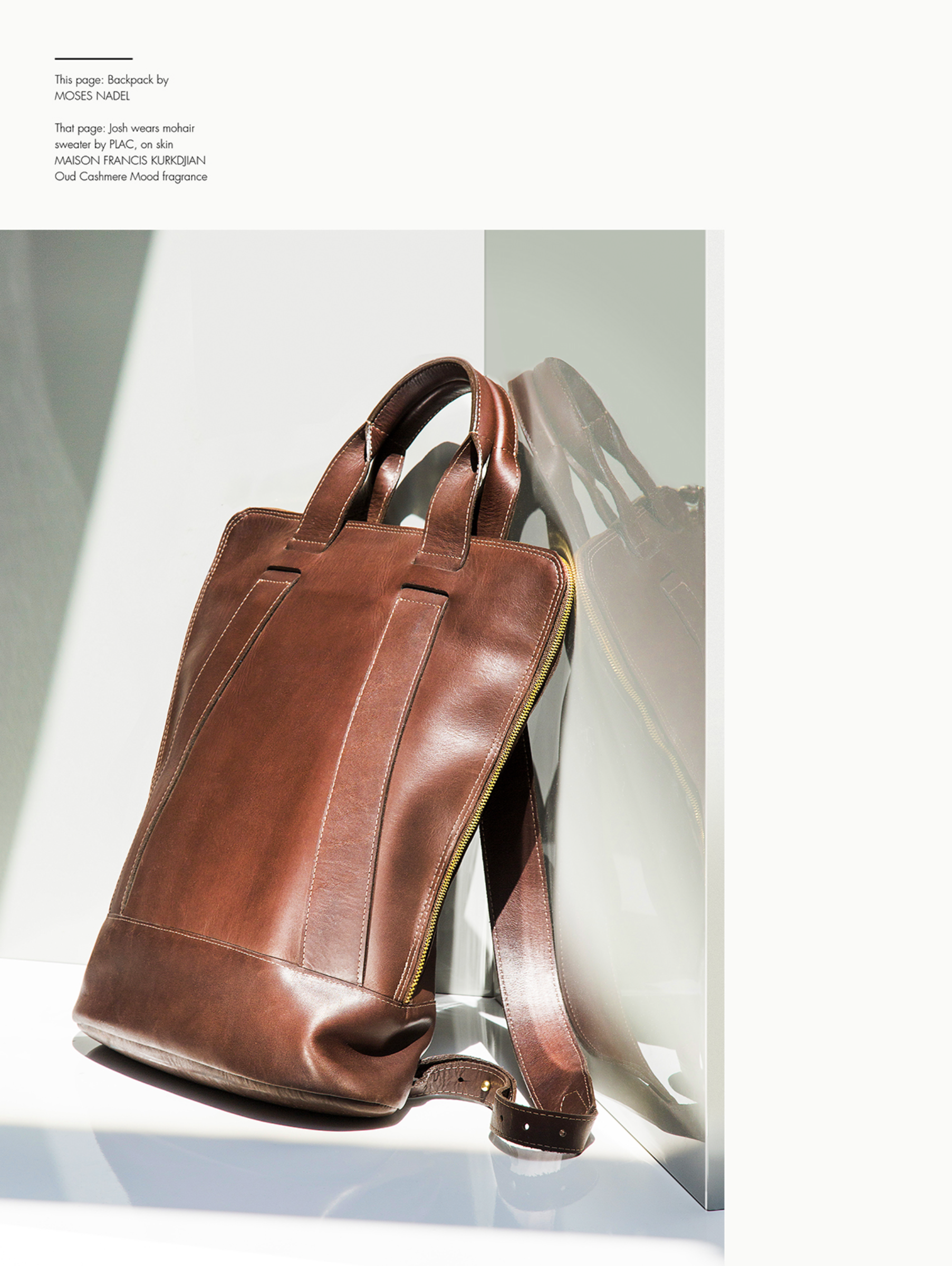 Backpack Brief  in Brown Explorer - The Perfect Man Magazine | Photo: Jenia Filatova