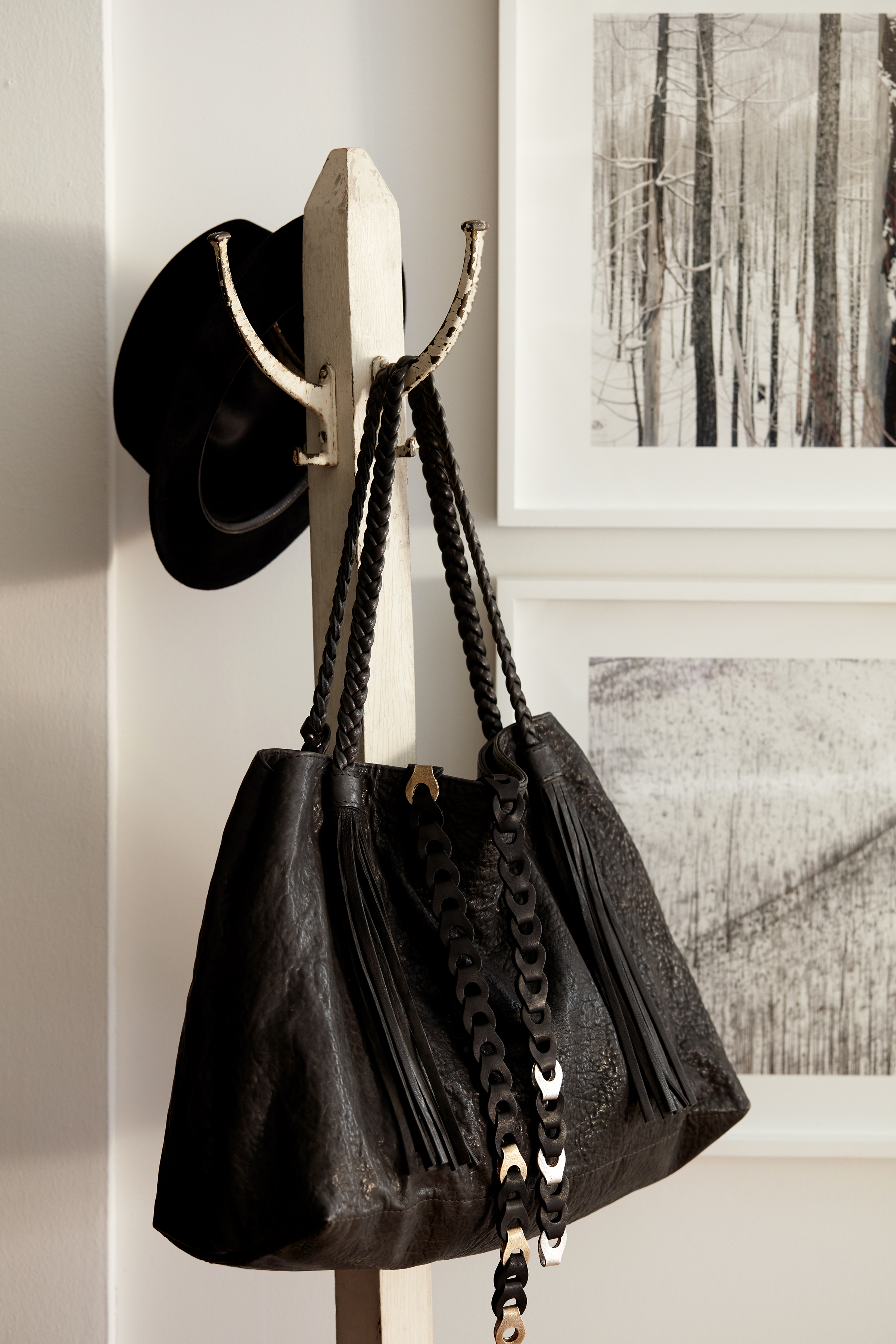 East End Tote  in Black Bubble Lamb, and  Chainmail Belt No. 1  in Black and Brass | Photo: Josephine Rozman