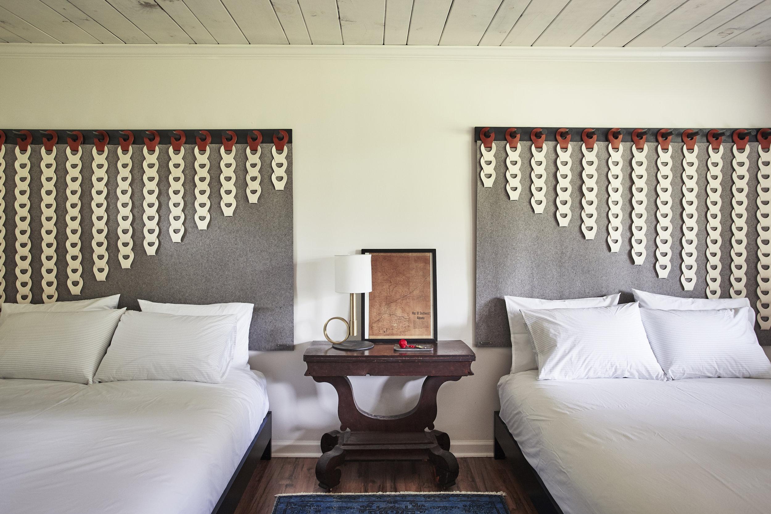 Icarus Tapestries  In Grey and Cream : Megan Pflug Interior Design - The Woodhouse Lodge | Photo: Genevieve Garruppo