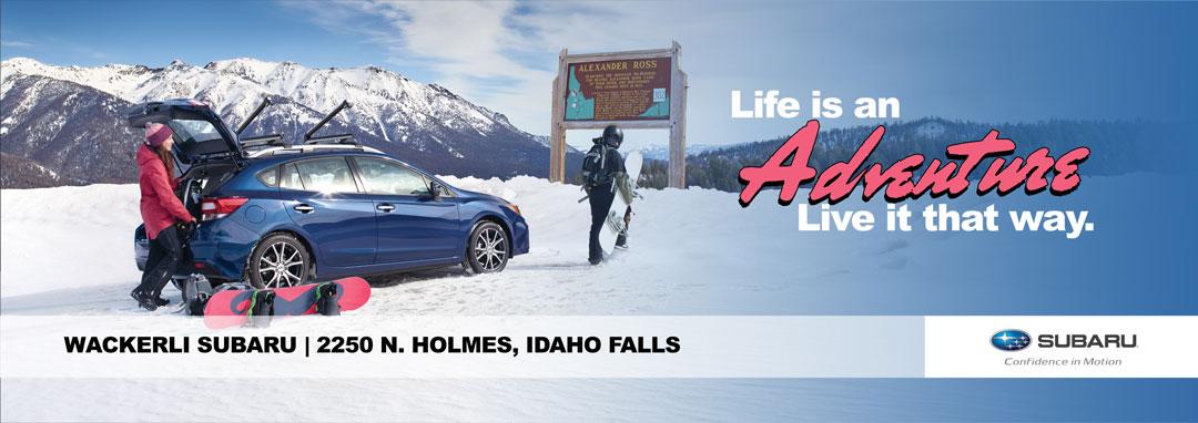 Wackerli Subaru Billboard Design showing a 2017 Subaru Impreza in the snow