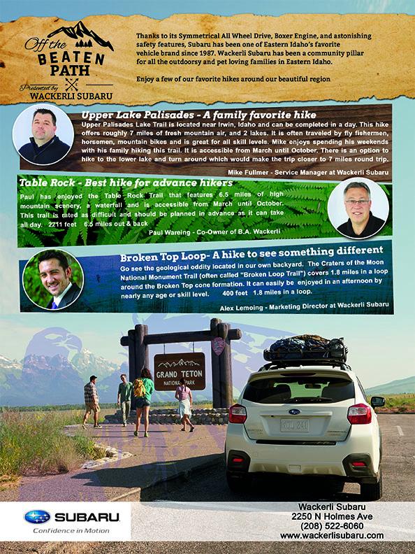 ad design for Wackerli Subaru in the Idaho Falls Magazine
