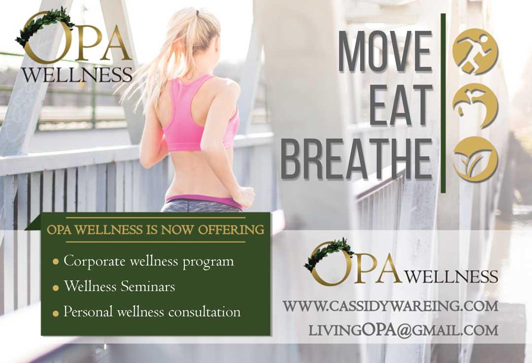Opa wellness ad designed for Idaho Falls Magazine