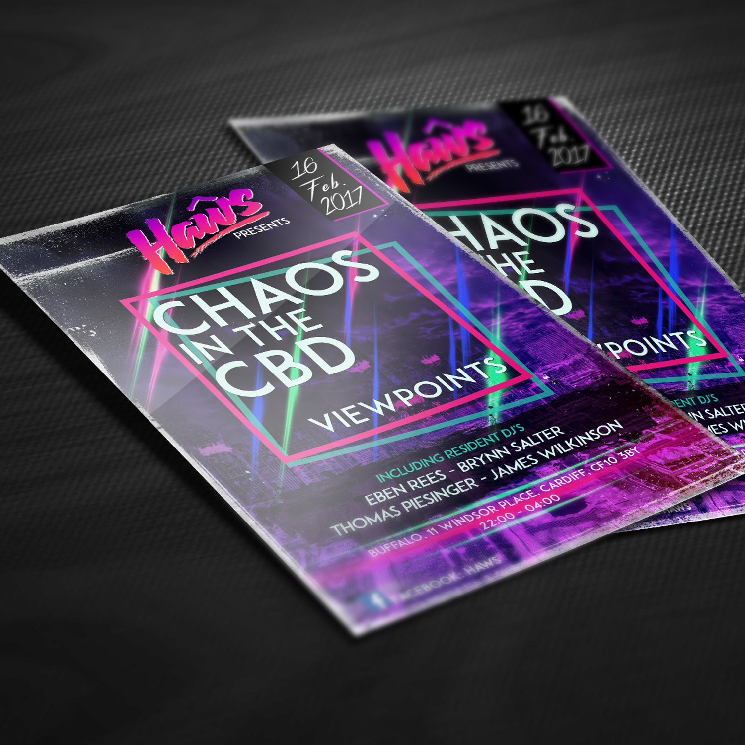 Flyer Design for Chaos in the CBD and Haws in Cardiff