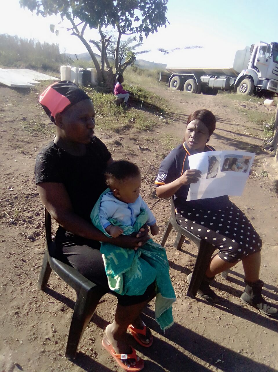 A woman in rural South Africa receiving maternity healthcare funded by Ruth and Dave after they had their own baby
