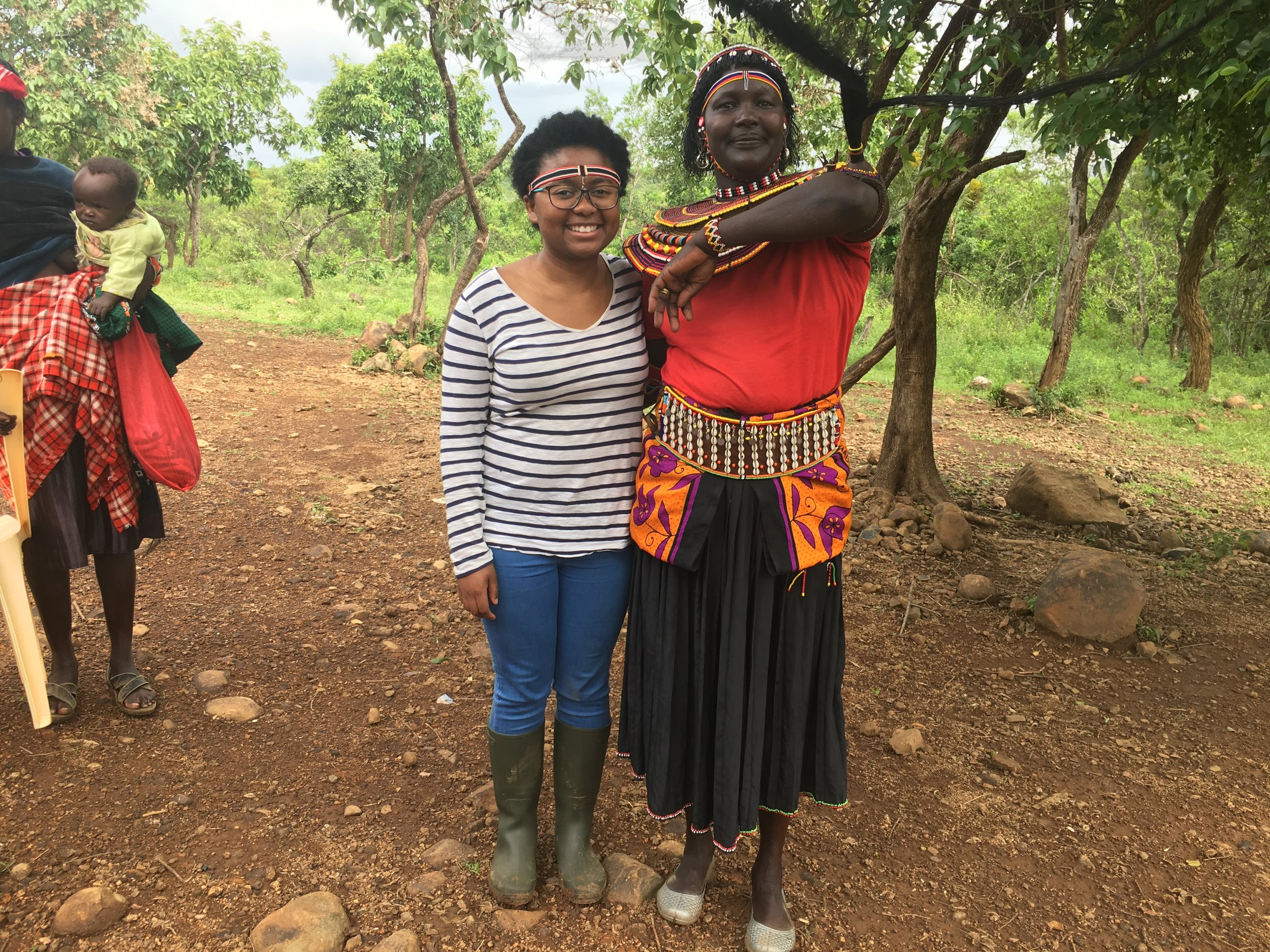 Pokot woman with our intern Taman.JPG