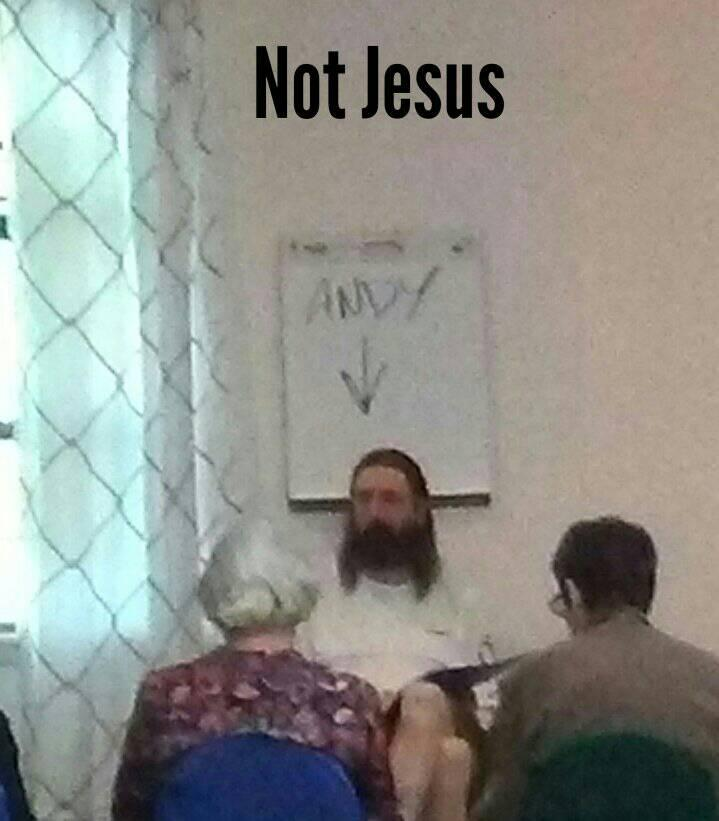 Rev. Andy Jacobs teaches the New UU Class the last Sunday of every month. This photo was taken and made into a meme by Susan Cogan.