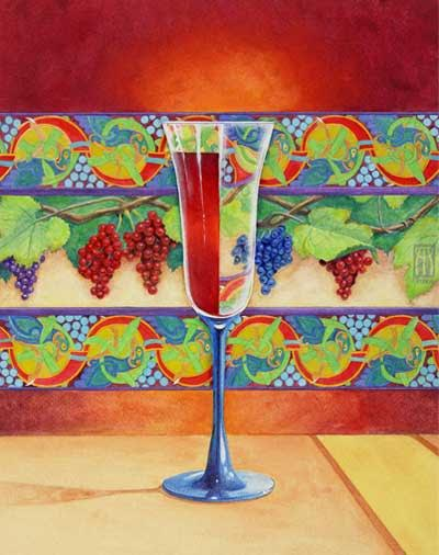 Wine Glass Half Full; a surrealist piece by Melissa Benson