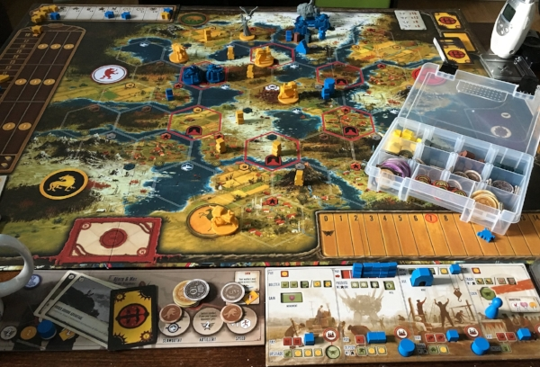 Scythe is a big, beautiful, and well designed game. (Bit box, baby monitor, and mug handle not included)