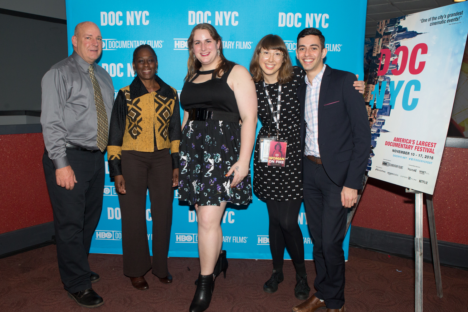 The Woman on Fire team celebrates the film's world premiere at DOC NYC. Pictured (Left to Right): George Guinan (Film Subject), Chirlane McCray (First Lady of NYC), Brooke Guinan (Film Subject), Julie Sokolow (Film Director), and Gabriel Lewenstein (LGBT Outreach Coordinator for the NY Public Advocate).