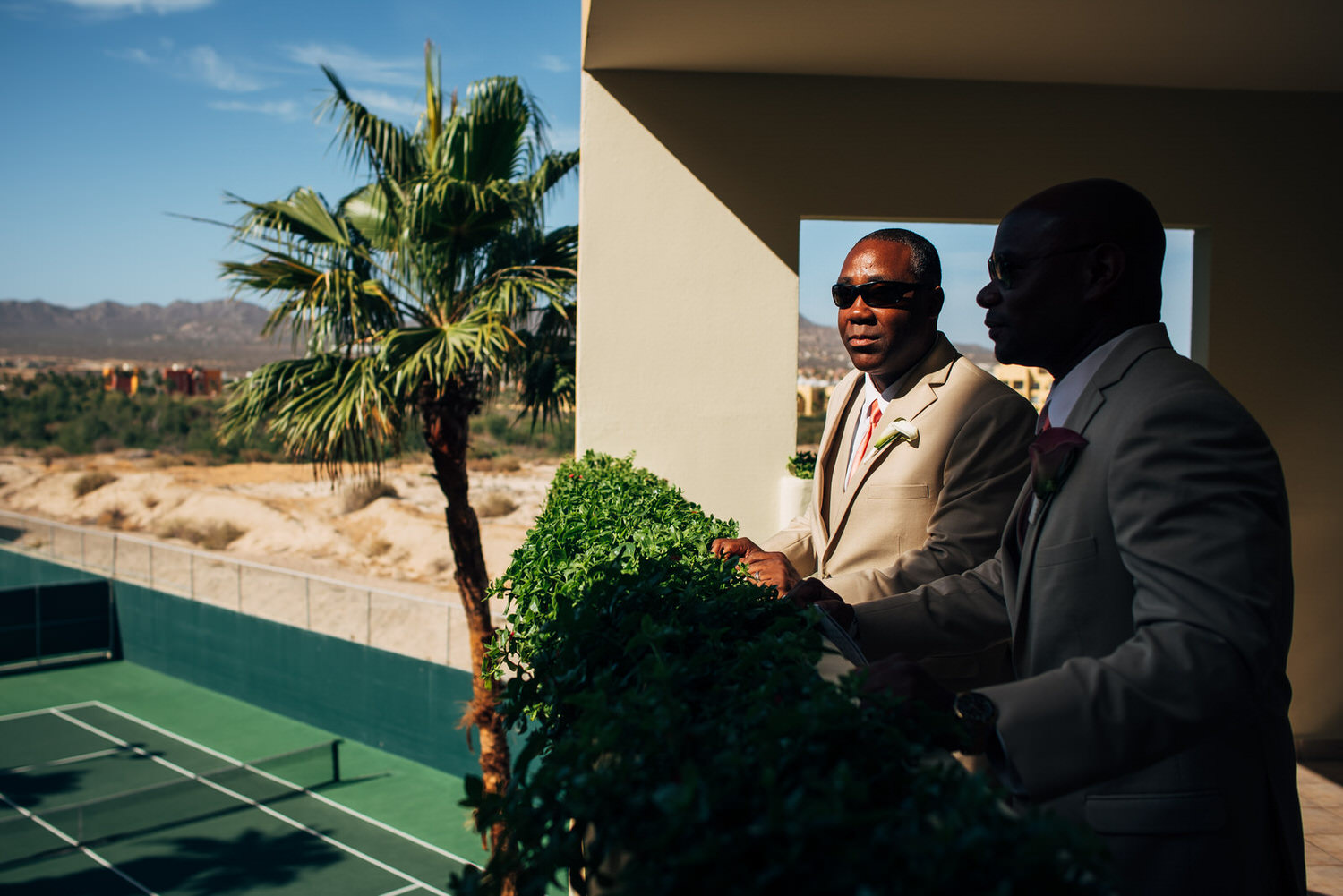 groom and best man in cabo
