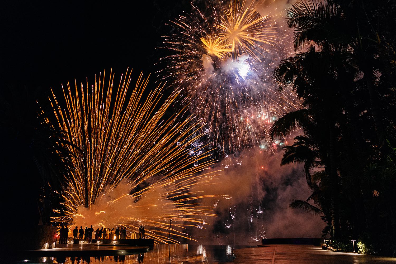 fireworks wedding cabo
